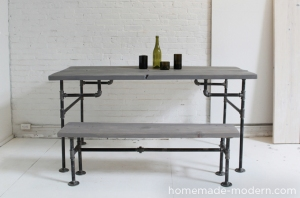 If you're a little more adventurous--how about tackling this industrial table from plumbing fittings and knotty pine?