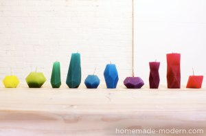 You can make these geometric candles from spare crayons with downloadable form templates.