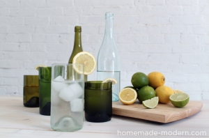 If that candlemaking made you thirsty--have a drink from these recycled wine bottle glasses.